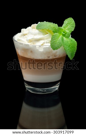 coffe latte cup on the black whiht mint - stock photo