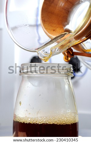 coffe preparing with chemex - stock photo