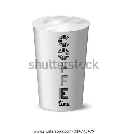 coffe time. White paper cup without a lid in stie realism, coffee, tea, cold drinks, and its design - stock photo
