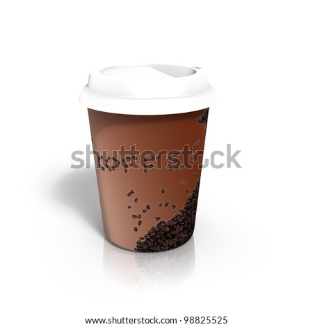 Coffe to go - 3d render - stock photo