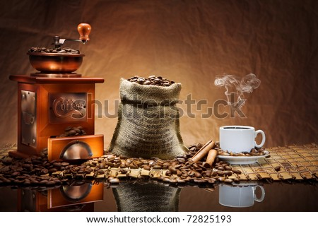 coffee accessories on mat - stock photo