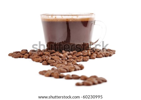 coffee and a cup coffee on a white background - stock photo
