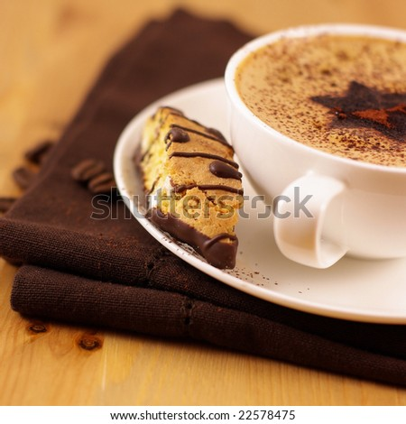 Coffee and almond cake - stock photo