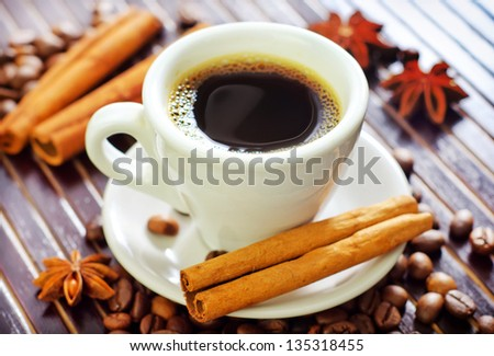 coffee and aroma spice - stock photo