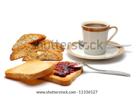 Coffee and biscuits breakfast isolated over white background