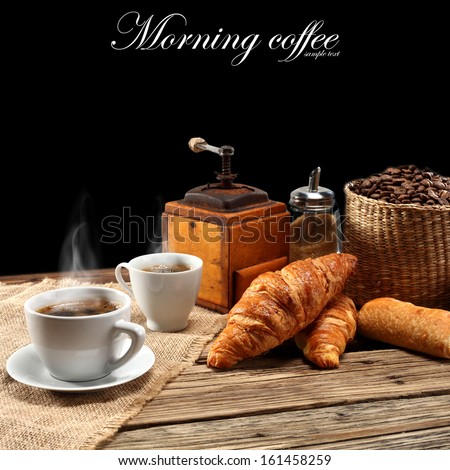 coffee and black space for text  - stock photo