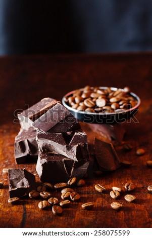 coffee and chocolate - stock photo