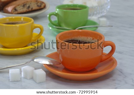Coffee and Chocolate Chip Biscotti. Shallow DOF. - stock photo
