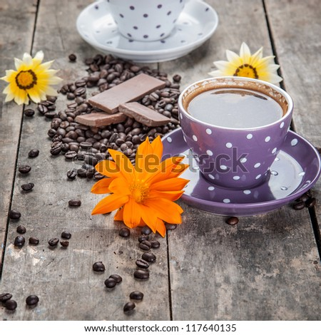 Coffee And Chocolate,Close Up - stock photo
