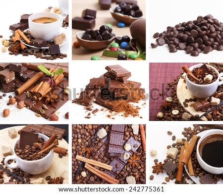 Coffee and Chocolate collage - stock photo