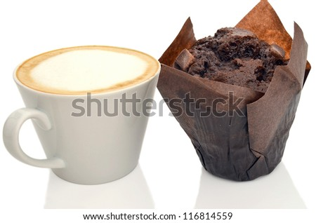 Coffee and chocolate muffin isolated on a white background.