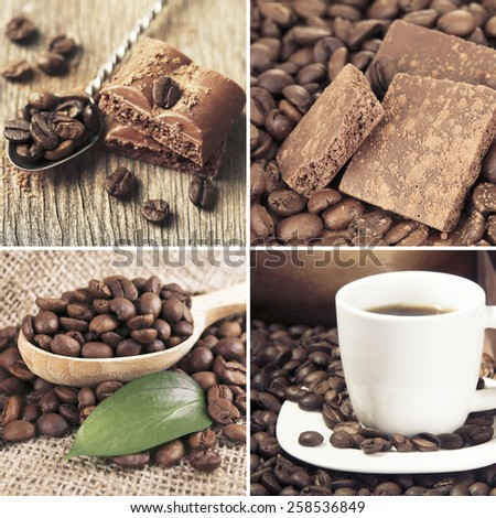 Coffee and chocolate, tasty collage - stock photo