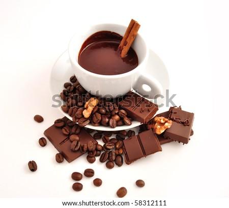 coffee and chocolate with cinnamon - stock photo