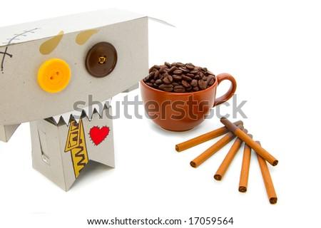 Coffee and cigarettes addict - stock photo