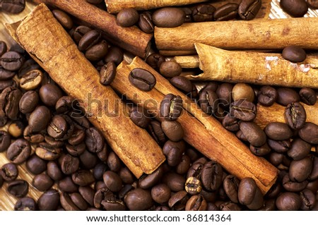 coffee and cinnamon - stock photo
