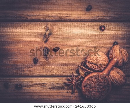 Coffee and cocoa theme still-life with copy-space on wooden table  - stock photo
