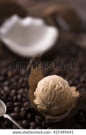 Coffee and coconut ice cream scoop - stock photo