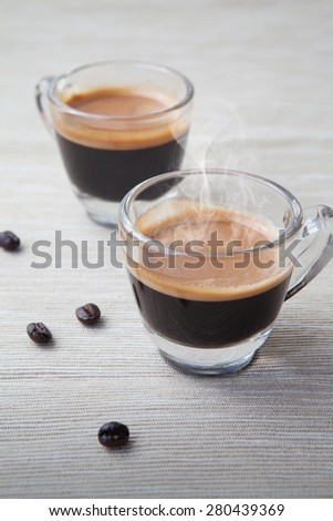 Coffee and coffee bean on fabric background, Coffee Espresso.   - stock photo