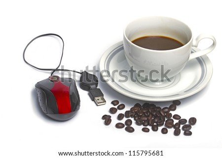 coffee and computer - stock photo