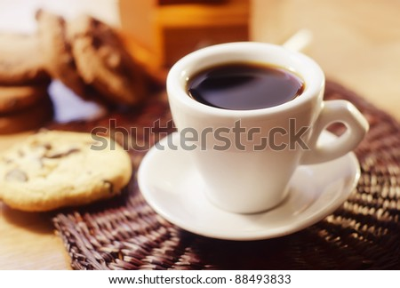 coffee and cookies - stock photo