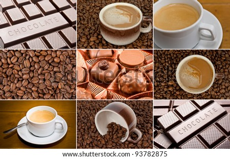 Coffee and dark chocolate set - stock photo
