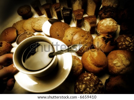 coffee and donuts  - sepia - stock photo