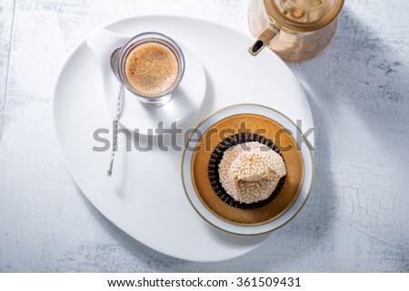 Coffee and handmade almond cookies  - stock photo