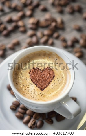 Coffee and heart symbol as a concept and ideal. Tasty food background - stock photo
