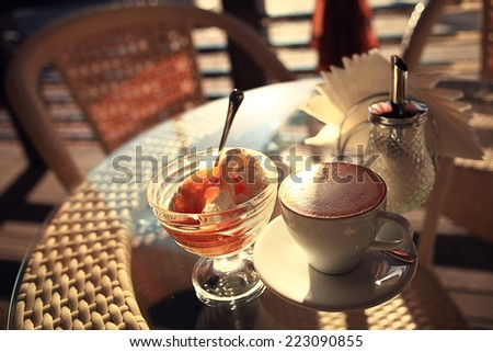 coffee and ice cream in the cafe - stock photo
