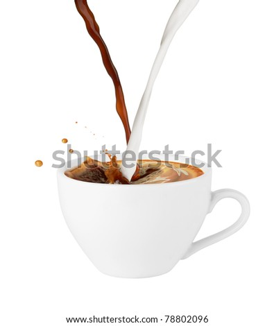 Coffee and milk poured in a cup, isolated on white background - stock photo