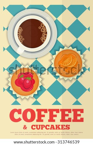 Coffee and Orange and Strawberry Cupcakes in Retro Design - Advertising, Menu Cover.  - stock photo