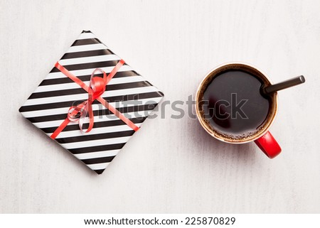 Coffee and present. Holiday celebration - stock photo