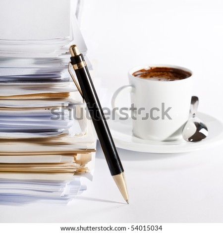 coffee and stack of paper - stock photo