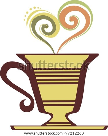 coffee and tea cup isolated on White background.  illustration. - stock photo