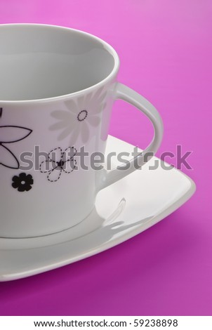Coffee and tea cup on pink background, detail - stock photo