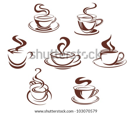 Coffee and tea cups symbols for beverage design, such logo. Vector version also available in gallery - stock photo