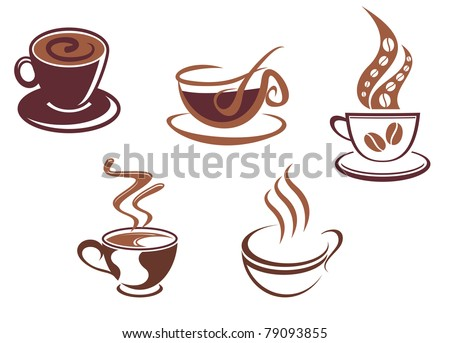 Coffee and tea symbols and icons for food design, such a logo. Vector version also available in gallery - stock photo