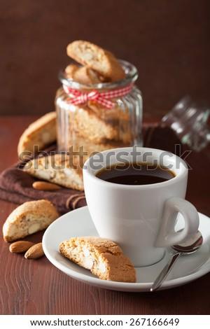 coffee and traditional italian cantuccini cookies - stock photo