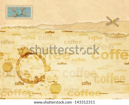 Coffee background - a sheet old, soiled paper with drops of coffee - stock photo