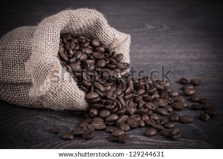 Coffee background with beans on a wooden background