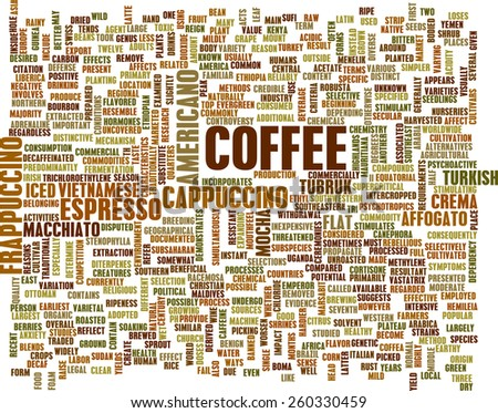 Coffee Background with Different Blends and Types - stock photo