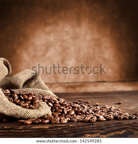 coffee background with grains and empty space - stock photo