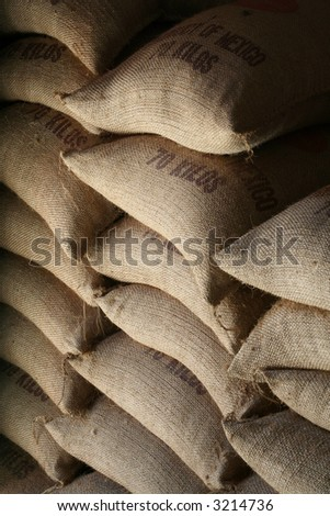 Coffee bags for export - stock photo