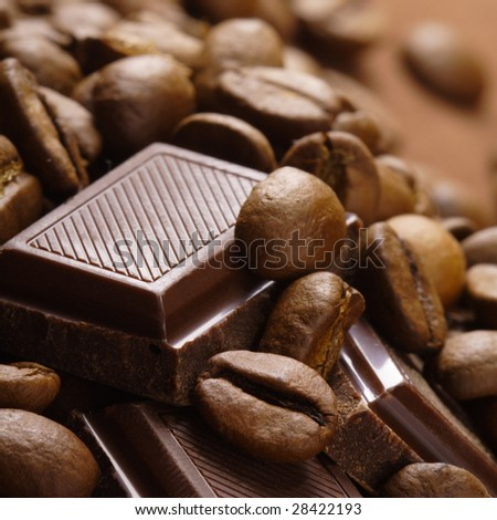 coffee bean and chocolate - stock photo