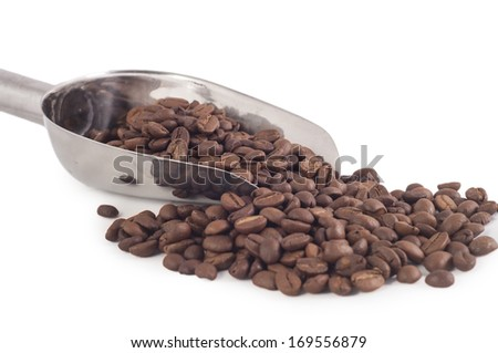 Coffee bean and scoop on sack with white isolated