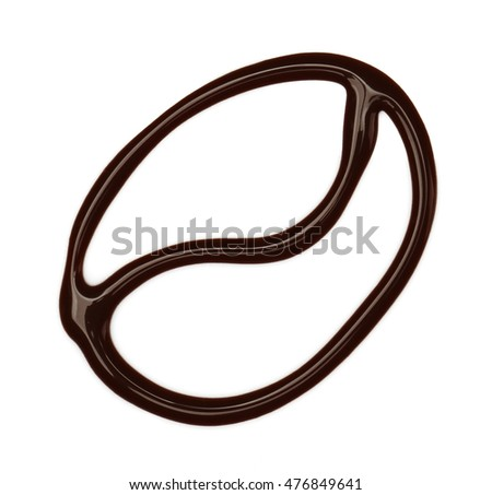 Coffee bean drawing with liquid chocolate isolated on white