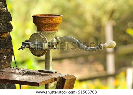 Coffee bean grinder, Colombia - stock photo