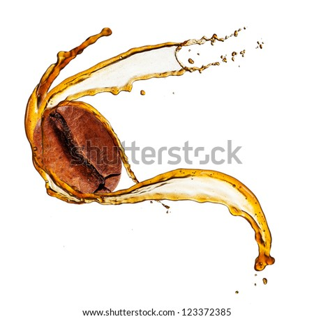 Coffee bean in splash, isolated on white background - stock photo