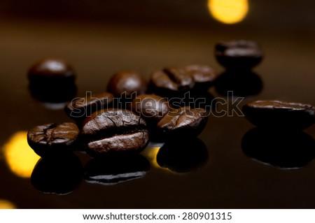 Coffee bean on Black background - stock photo
