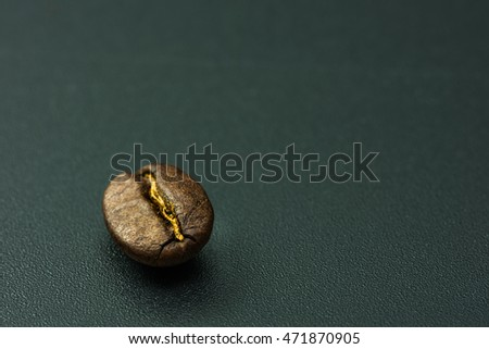 Coffee bean on black background.